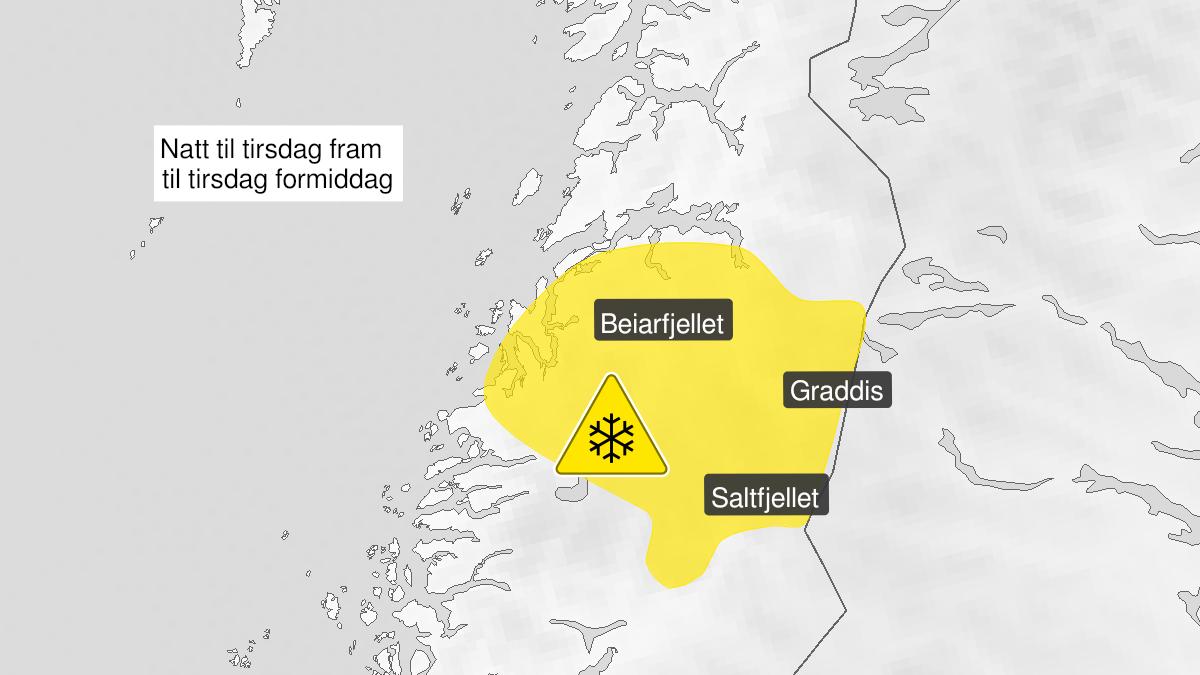 Kart over mye snø, gult nivå, Saltfjellet, Salten, 21 September 22:00 UTC til 22 September 09:00 UTC.