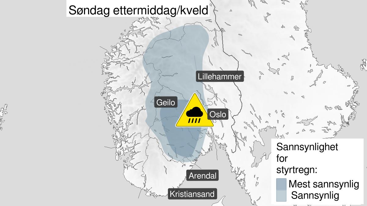 Map of heavy rainshowers, yellow level, Vestfold, Buskerud, Oppland and Telemark, 02 August 15:00 UTC to 03 August 04:00 UTC.