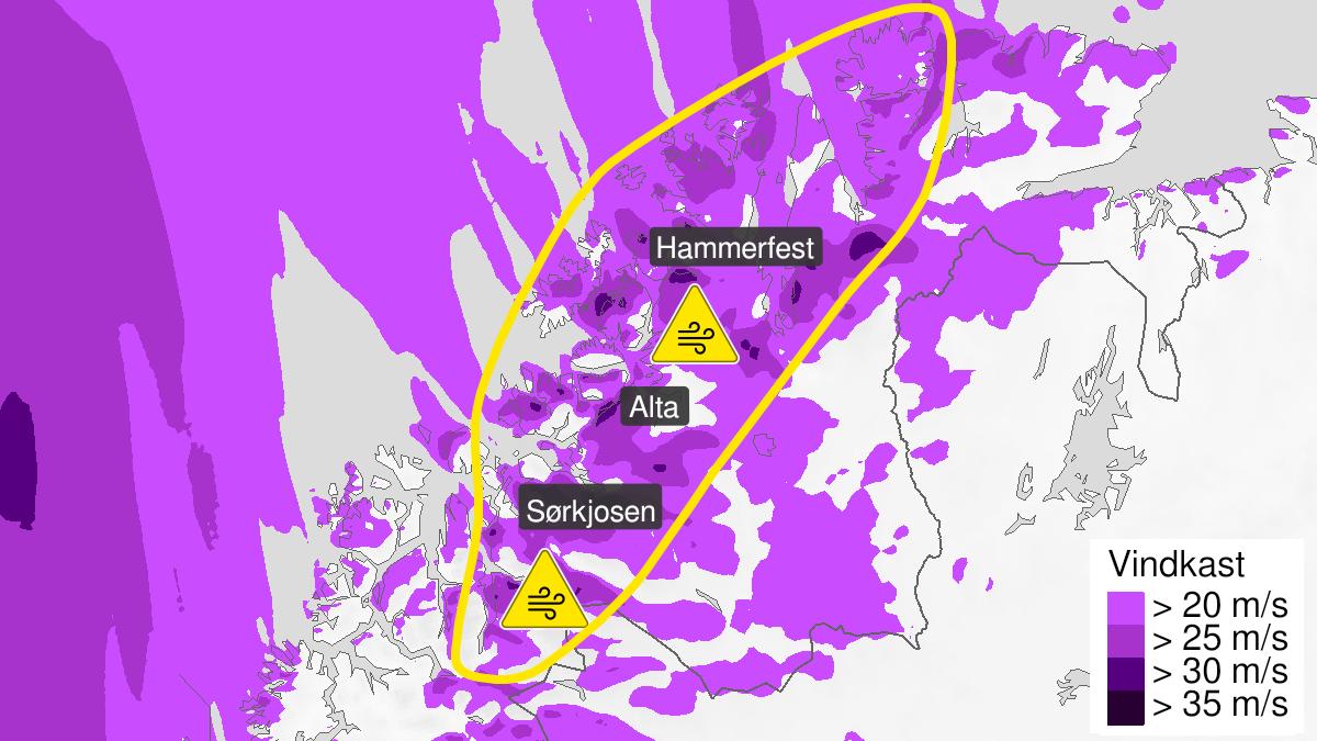 Kart over kraftige vindkast, gult nivå, Nord-Troms og Kyst- og fjordstrøkene i Vest-Finnmark, 22 September 06:00 UTC til 22 September 18:00 UTC.