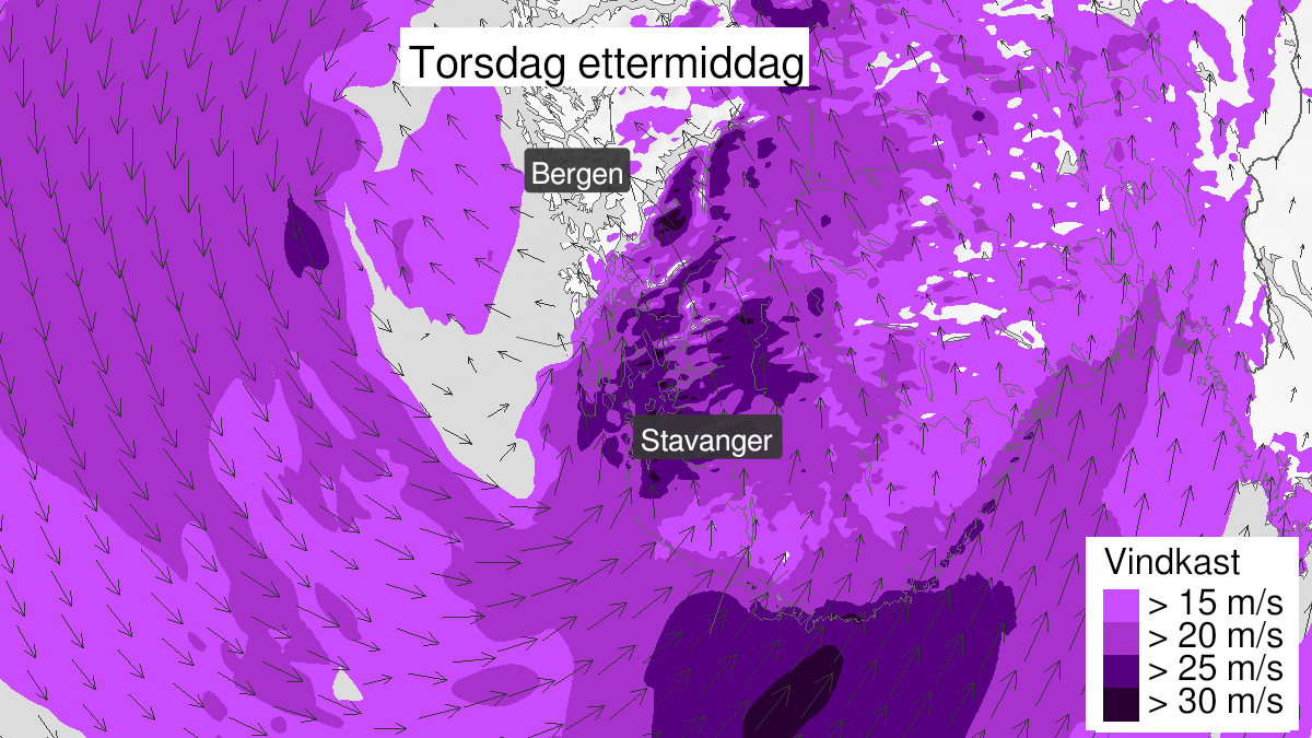 Map of strong wind gusts, yellow level, Rogaland, 24 September 07:00 UTC to 24 September 16:00 UTC.