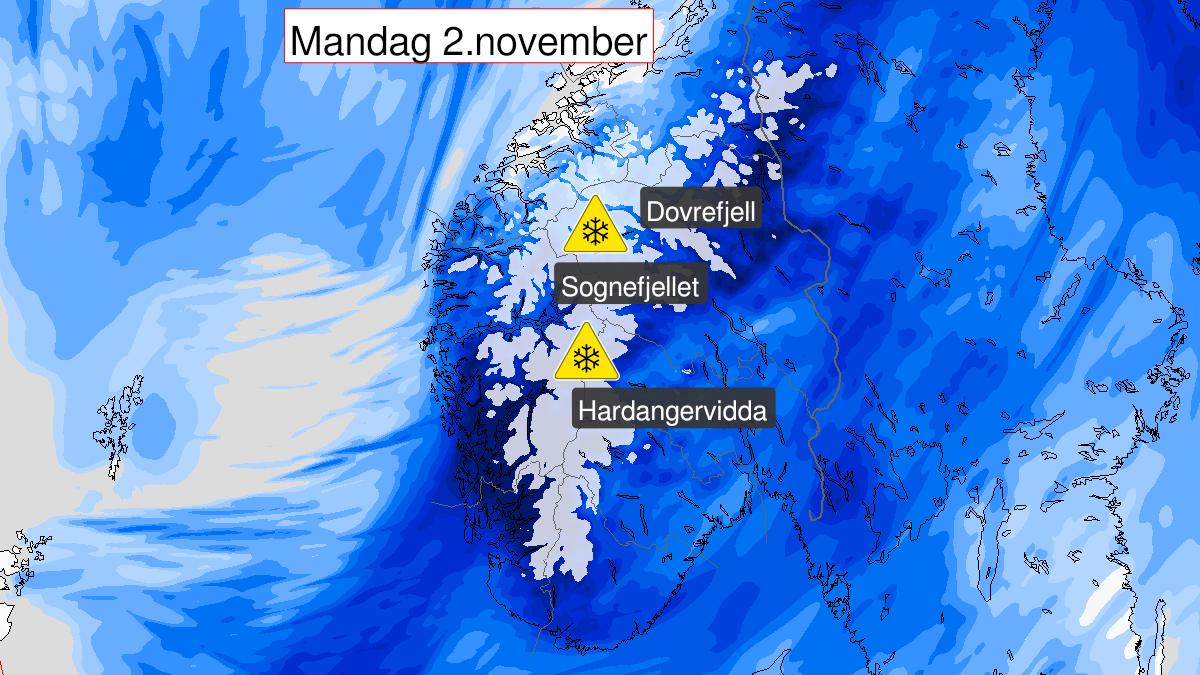 Kart over snø, gult nivå, Fjellet i Sør-Norge, 01 November 18:00 UTC til 02 November 23:00 UTC.