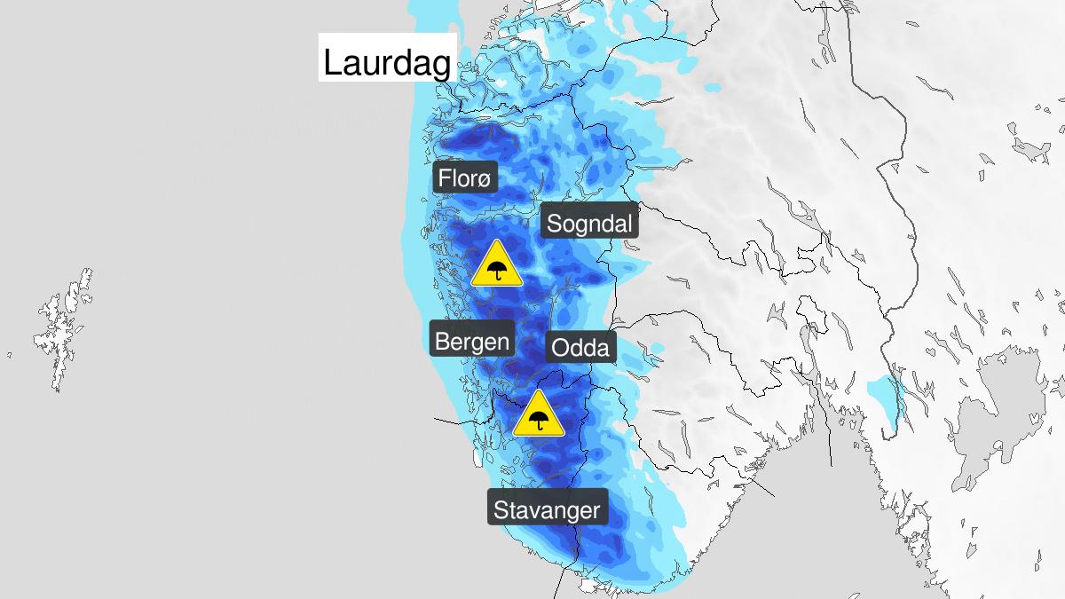 Mye regn, gult nivå, Vestlandet sør for Stad, 11 January 03:00 UTC til 11 January 19:00 UTC.