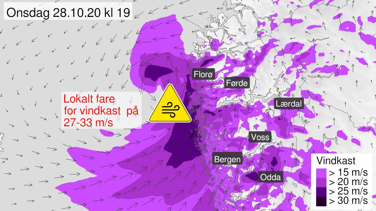 Map of strong wind gusts, yellow level, Ytre Sogn, 28 October 13:00 UTC to 28 October 20:00 UTC.