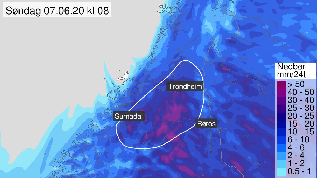 Kart over mye regn, gult nivå, Indre delar av Trøndelag og Nordmøre, 06 June 09:00 UTC til 07 June 15:00 UTC.