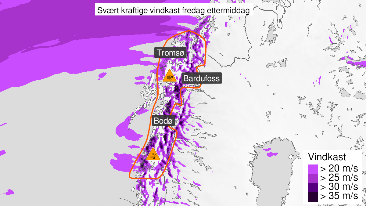Map of extreme weather Frank: Very strong wind gusts ongoing, orange level, North-Helgeland, Salten, Ofoten and Troms, 22 January 11:00 UTC to 22 January 17:00 UTC.