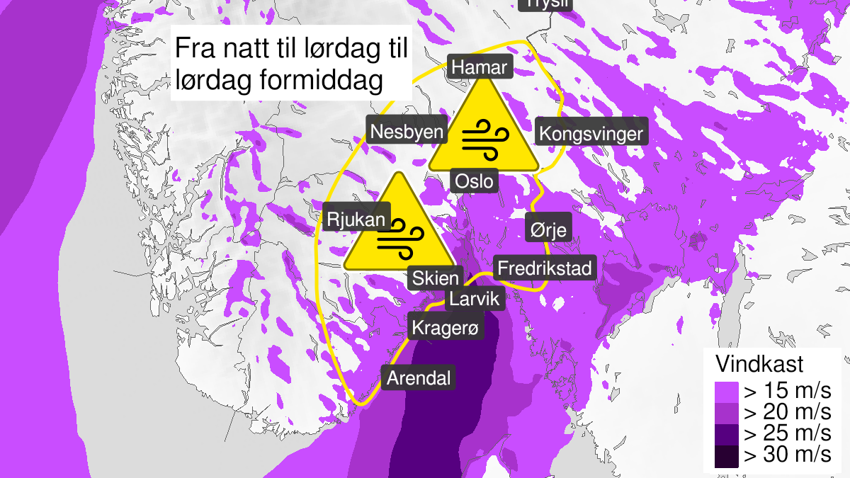 Map of strong wind gusts, yellow level, Østlandet, Telemark og Aust-Agder, 25 September 22:00 UTC to 26 September 12:00 UTC.