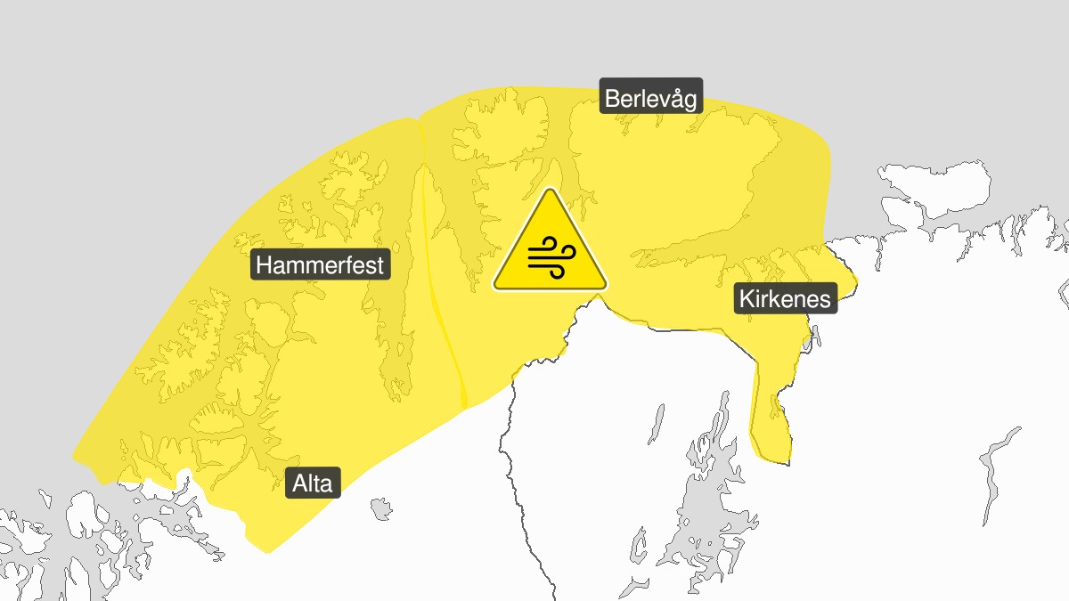 Map of strong wind gusts, yellow level, Kyst- and fjordstroekene i Finnmark, 18 September 10:00 UTC to 18 September 17:00 UTC.