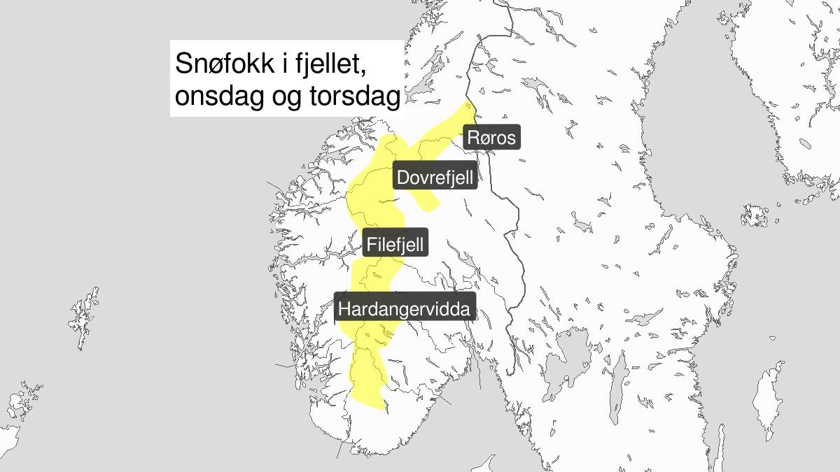 Kraftig snøfokk, gult nivå, Fjellet i Sør-Norge, 15 January 03:00 UTC til 16 January 18:00 UTC.