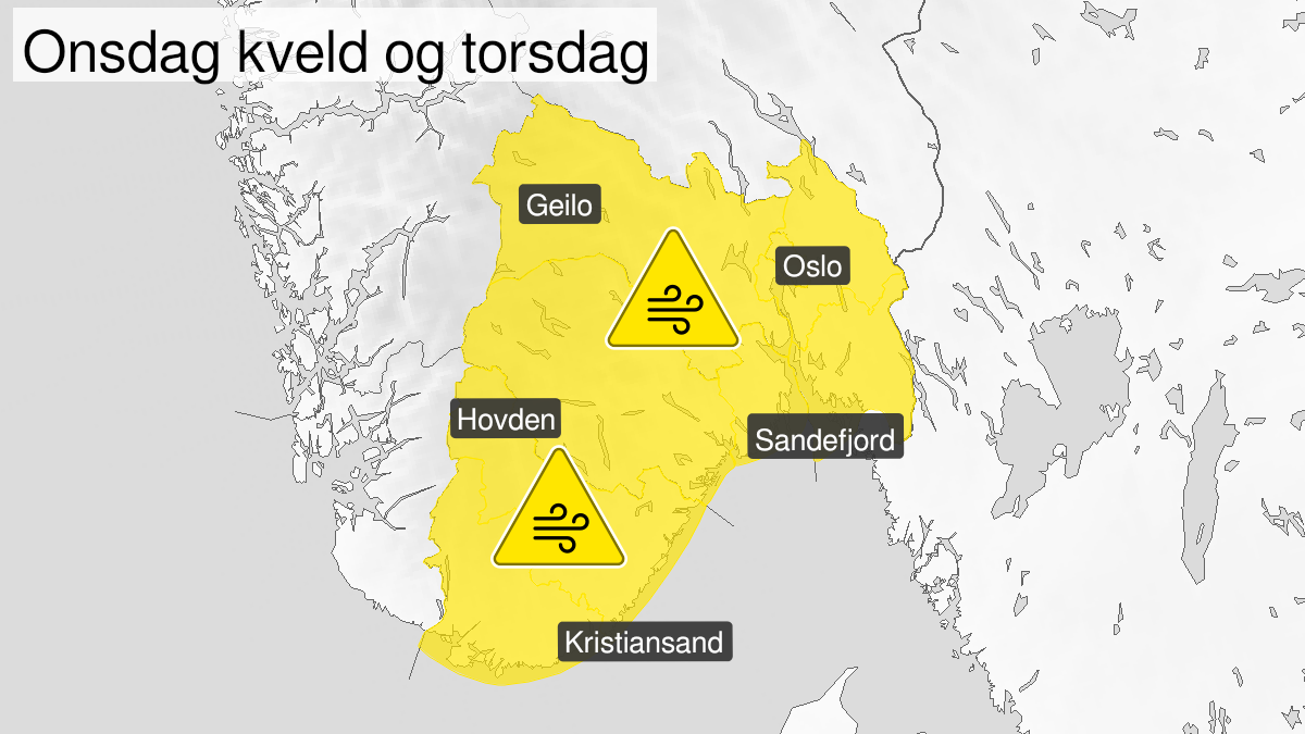 Map of strong wind gusts, yellow level, Vest-Agder, Aust-Agder, Telemark, Vestfold, Oestfold, Oslo and Akershus and Buskerud, 18 November 18:00 UTC to 19 November 20:00 UTC.