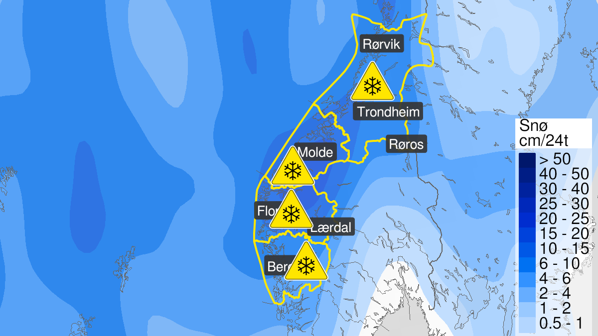 Kart over normalt mye snø, grønt nivå, Trøndelag, 04 April 16:00 UTC til 07 April 08:00 UTC.