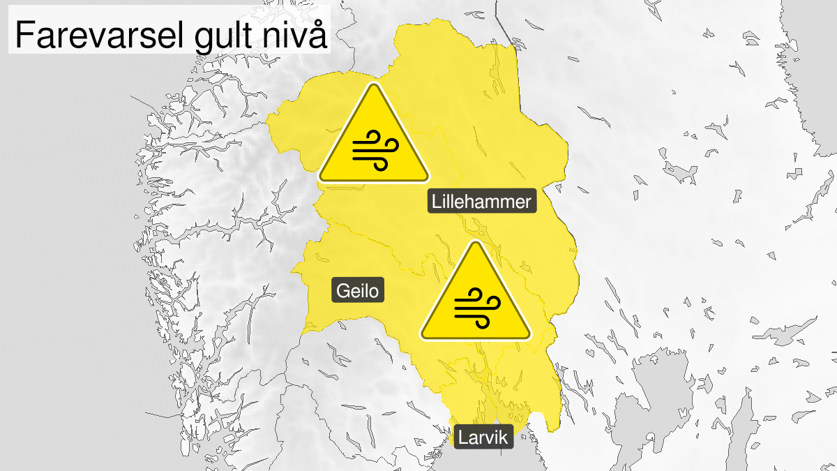 Map of strong wind gusts ongoing, yellow level, Oestlandet, 16 September 09:00 UTC to 16 September 18:00 UTC.