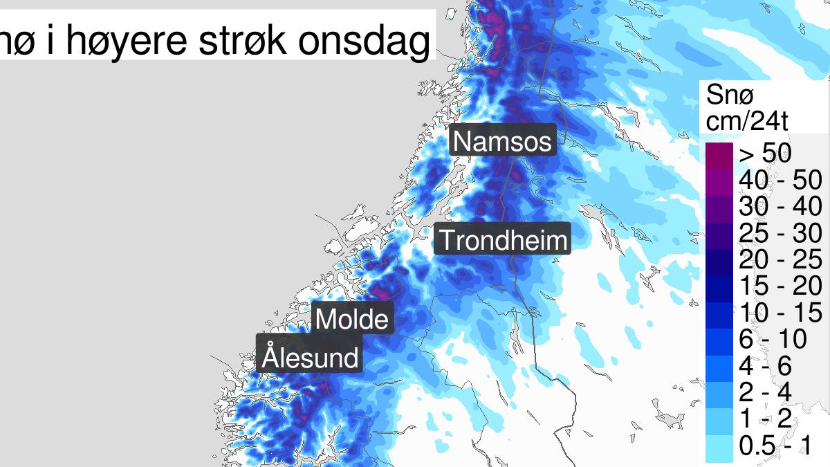 Mye snø, gult nivå, Møre og Romsdal, 30 October 00:00 UTC til 30 October 23:00 UTC.