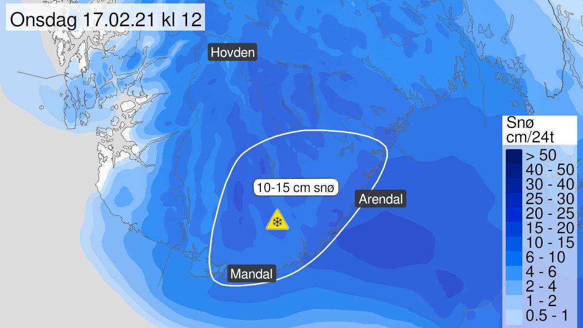 Kart over snø, gult nivå, Agder, 16 February 16:00 UTC til 17 February 11:00 UTC.