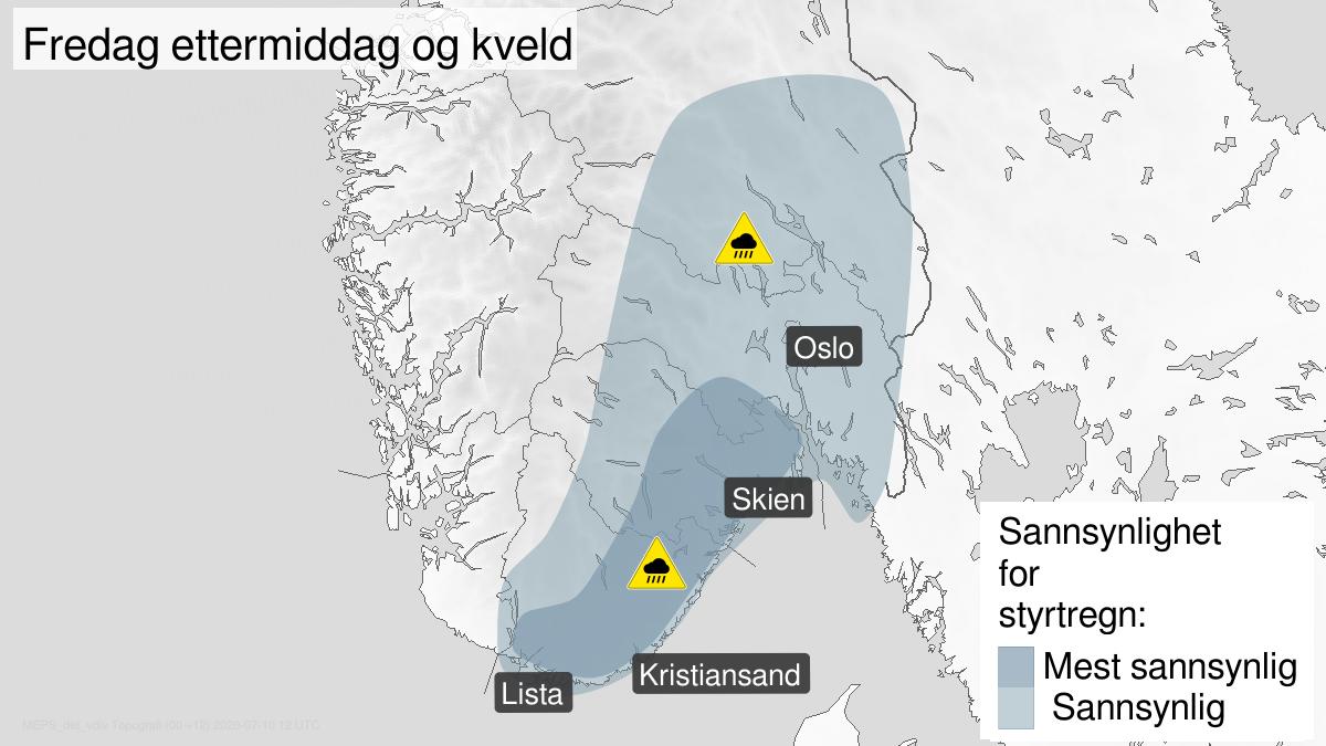 Kart over styrtregn, gult nivå, Østafjells, 10 July 11:00 UTC til 10 July 22:00 UTC.