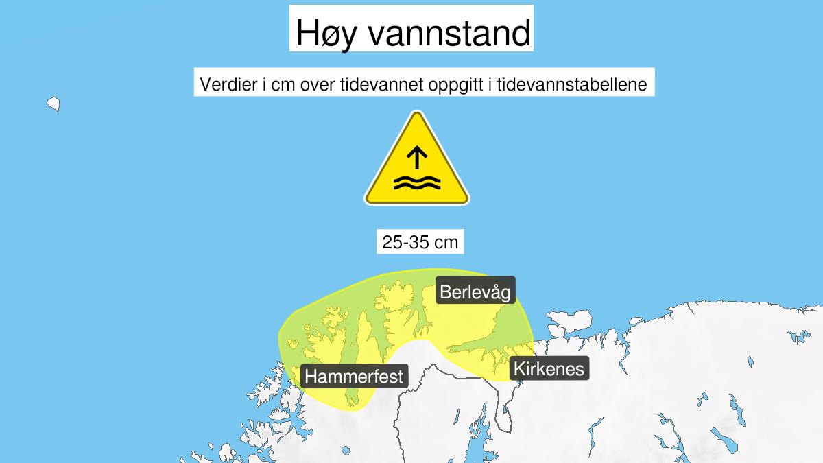 Kart over høy vannstand, gult nivå, Kyst- og fjordstrøkene i Finnmark, 18 September 14:00 UTC til 19 September 07:00 UTC.